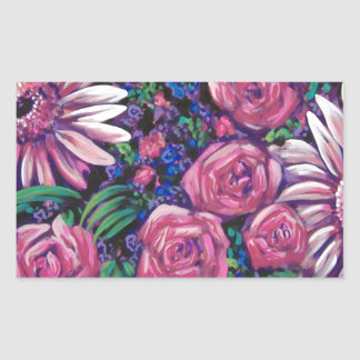 pink and purple flowers rectangular stickers