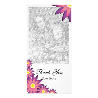 Pink and Purple Flowers Thank You Photo Card