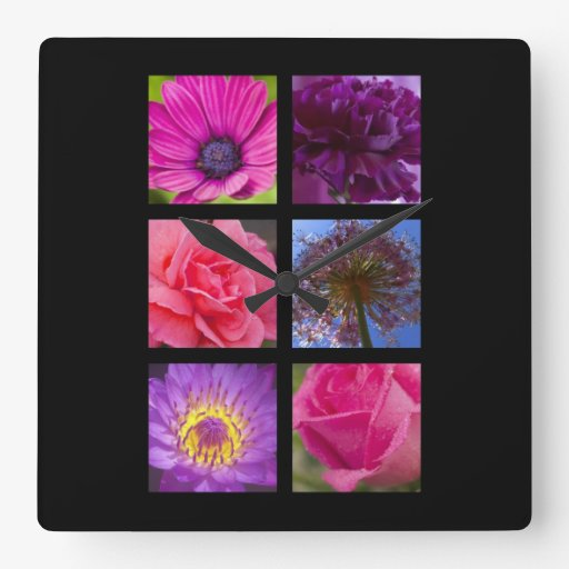 Pink and Purple Flowers Wall Clocks