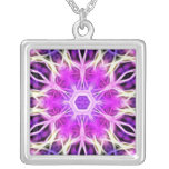 Pink and Purple Fractal Mandala Pendant