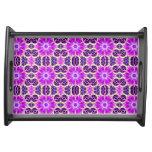 Pink and Purple Fractal Mandala Service Trays