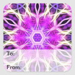Pink and Purple Fractal Mandala Square Sticker