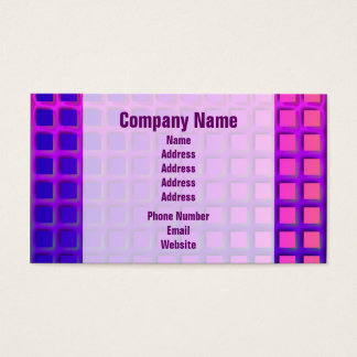 Pink and Purple Funky Squares Pattern Business Card