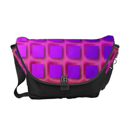 Pink and Purple Funky Squares Pattern Courier Bag