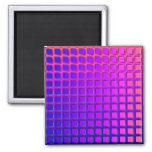 Pink and Purple Funky Squares Pattern Refrigerator Magnet