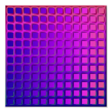 Pink and Purple Funky Squares Pattern Posters