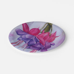 PINK AND PURPLE FUSCHIA FLOWER PAPER PLATES & Fuschia Plates | Zazzle