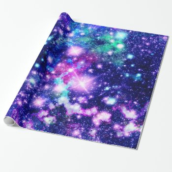 Pink And Purple Galaxy Stars Wrapping Paper by OrganicSaturation at Zazzle