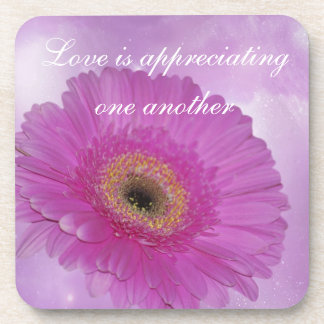 Pink and purple Gerber Daisy Beverage Coaster