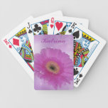 Pink and purple gerber daisy bicycle poker cards