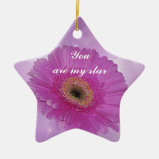 Pink and purple Gerber Daisy Ceramic Ornament