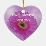 Pink and purple Gerber Daisy Christmas Ornaments