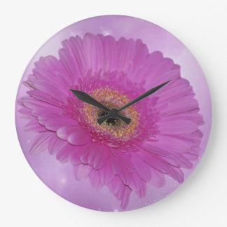 Pink and purple gerber daisy wall clock