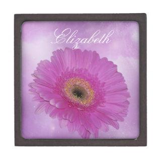 Pink and purple Gerber Daisy Jewelry Box
