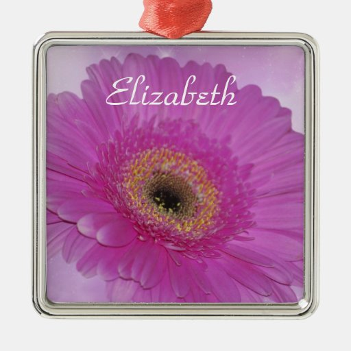Pink and purple Gerber Daisy Metal Ornament