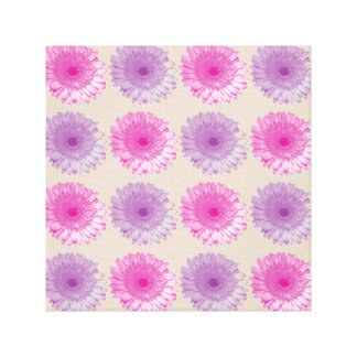 Pink and purple gerber floral pattern canvas print