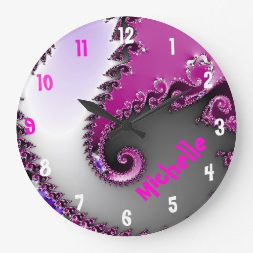Pink and Purple Girl's Room Name Clock