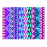 Pink and Purple Girly Aztec Postcard