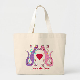 Pink and Purple Girly Geckos Canvas Bags