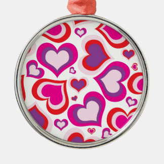pink and purple girly hearts modern design metal ornament
