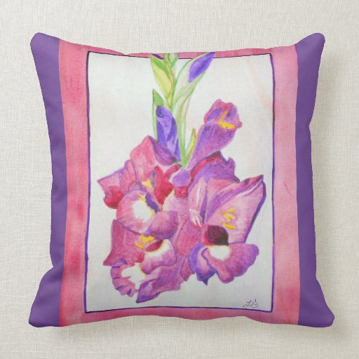Purple And Pink Decorative Pillows : Pink and Purple Gladiola Watercolor Throw Pillow Zazzle