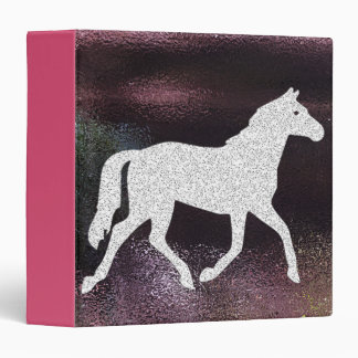 Pink and Purple Glitter Horse Binder