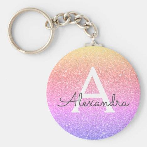 Pink and Purple Glitter & Sparkle Monogram Favor Keychain