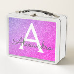 "Pink and Purple Glitter &amp; Sparkle Monogram Metal Lunch Box<br><div class=""desc"">Pink and Purple Ombre Faux Glitter and Sparkle Elegant Lunch Box. The Lunch Box can be customized to include your initial and first name.</div>"