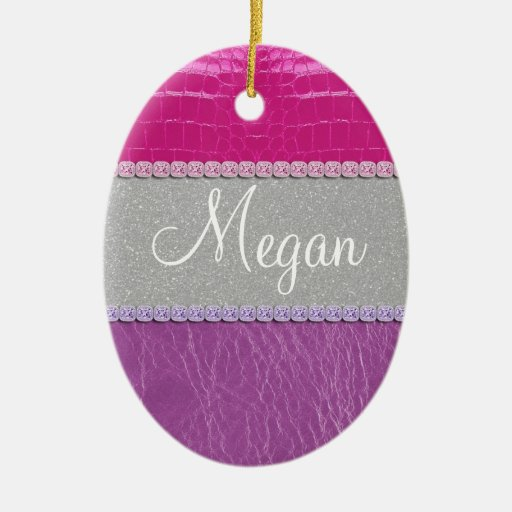Pink and Purple Glittery Print Christmas Tree Ornaments