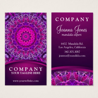 Pink and Purple glowing mandala - dark pink design Business Card