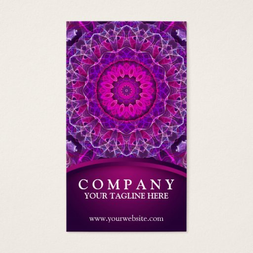 Pink and Purple glowing mandala - dark pink design Business Card