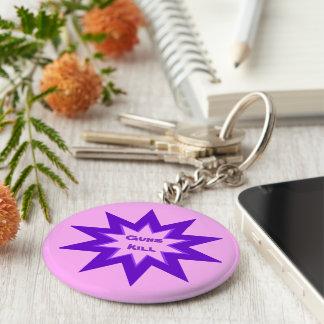 Pink and Purple Guns Kill Keychain