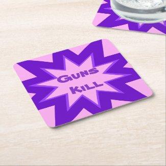 Pink and Purple Guns Kill Paper Coaster