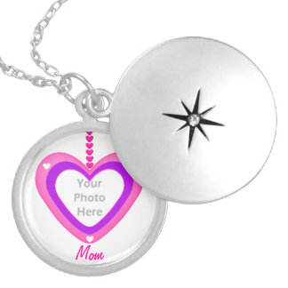 Pink and Purple Heart Layers for Mom (photo frame) Locket Necklace