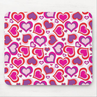 Pink and Purple Hearts Mouse Pad
