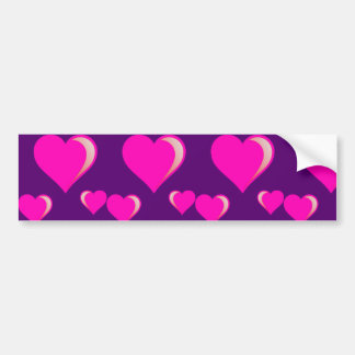 Pink and Purple Hearts Valentine's Day Love Bumper Sticker