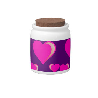 Pink and Purple Hearts Valentine's Day Love Candy Dishes