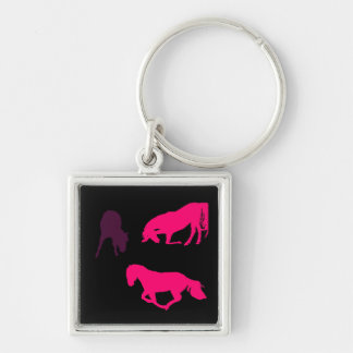 pink and purple horse on black silhouette keychain