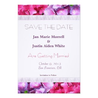 Pink and Purple Hydrangea Wedding Announcement