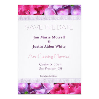 Pink and Purple Hydrangea Wedding Announcement