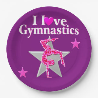 PINK AND PURPLE I LOVE GYMNASTICS PAPER PLATES