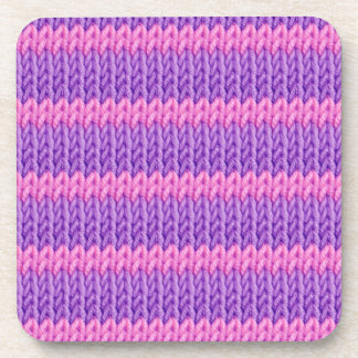 Pink and Purple Knit Drink Coaster