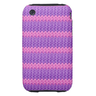 Pink and Purple Knit Tough iPhone 3 Case
