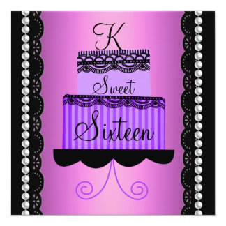 Pink and Purple Lace Sweet Sixteen Invitation