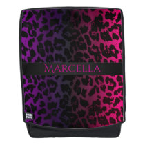 Pink and Purple Leopard Animal Print Backpack