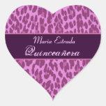 Pink and Purple Leopard  Quinceanera Sticker