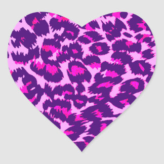 Pink and Purple Leopard Spots Heart Sticker