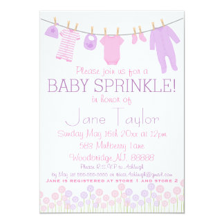 Pink and Purple Little Clothes Baby Sprinkle Card