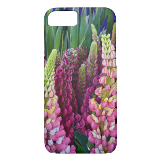 Pink and purple lupin flowers iphone case