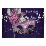 Pink and Purple Masquerade Party Thank You Cards